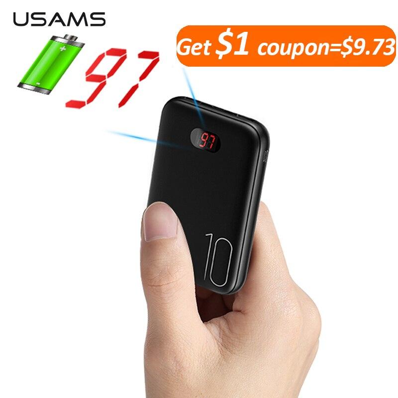 Power Bank für xiaomi mi iPhone USAMS power bank mi ni 10000 mAh Led-anzeige Dual USB Power Externe Batterie Schnelle lade