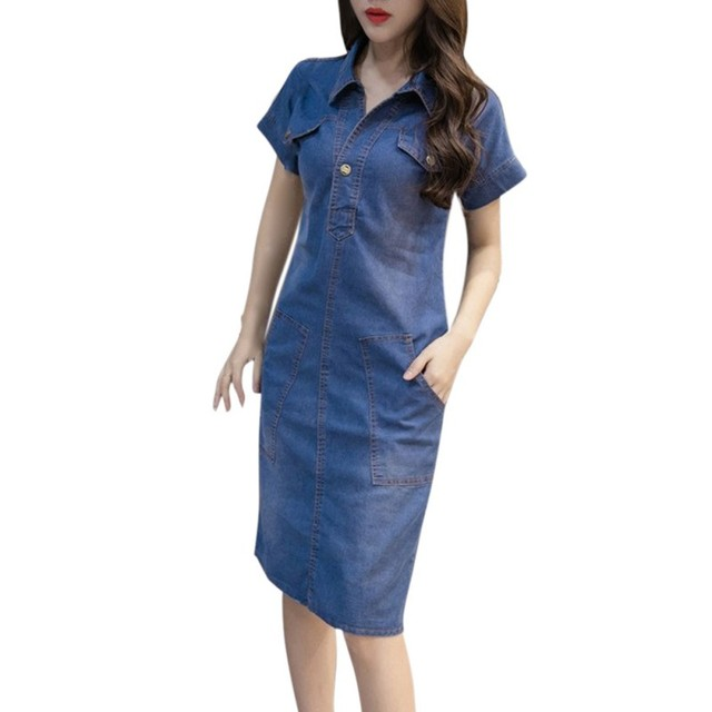 Women Denim Dress Female Summer Clothing   Women Jeans Dress Elegant Casual Cowboy Dresses retro dresses