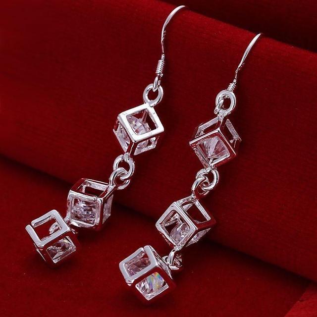 Wholesale silver square zircon crystal drop earring  brincos de prata women jewelry