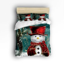 Фотография CHARMHOME Snowman Winter Christmas Print 3d Bedding Sets 4pcs Duvet Cover Bed Sheet Pillowcases for Adult Kids Free Shipping