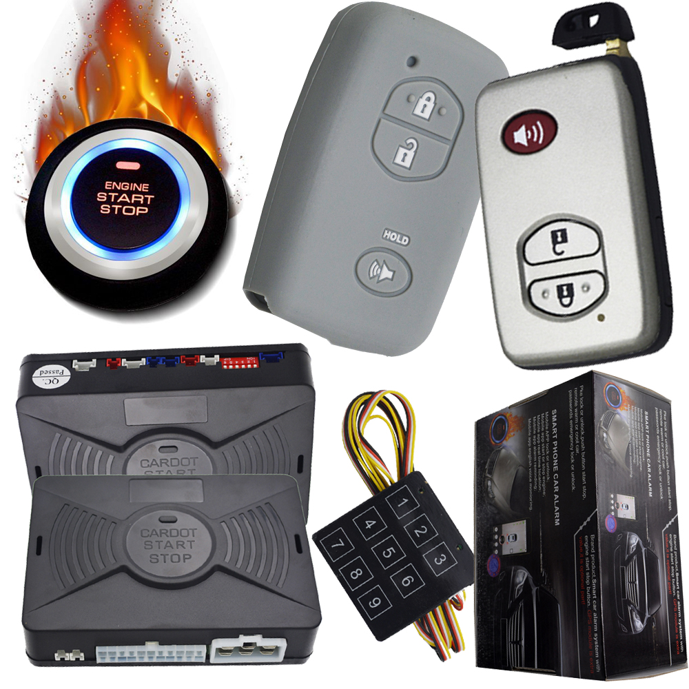 remote engine start stop car security alarm protection mute arm or disarm car keyless entry ignition button pke alarm system easyguard pke car alarm system remote engine start stop shock sensor push button start stop window rise up automatically