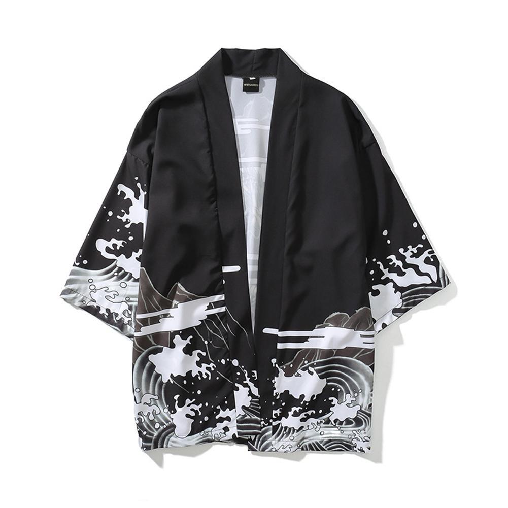 MISSKY Unisex Men Summer Shirt White Black Color Vintage Ukiyo-E Pattern Kimono Loose Sleeve Cotton Shirts Tops Male Clothes