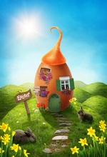 Laeacco Easter Day Photography Backgrounds Egg House Rabbit Flower Scene Baby Children Photographic Backdrops For Photo Studio