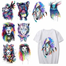 Iron on Watercolor Tiger Dog Owl Patches for Clothing DIY T-shirt Dresses Applique Heat Transfer Vinyl Stickers Thermal Press