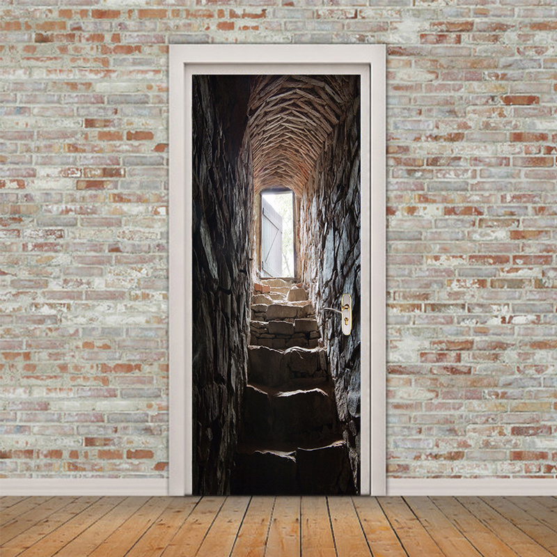 PVC Self-Adhesive Waterproof Wallpaper 3D Stereo Stairs Photo Wall Mural Door Sticker Living Room Personality Home Decor Sticker 3 d pvc flooring custom photo self adhesive material wall sticker 3 d great falls nature painting room wallpaper for walls 3d