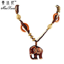 Boho Ethnic Jewelry Long Hand Made Bead Wood Elephant Pendant Maxi Necklace For Women Wholesale Price stunning rhinestoned elephant pendant necklace for women