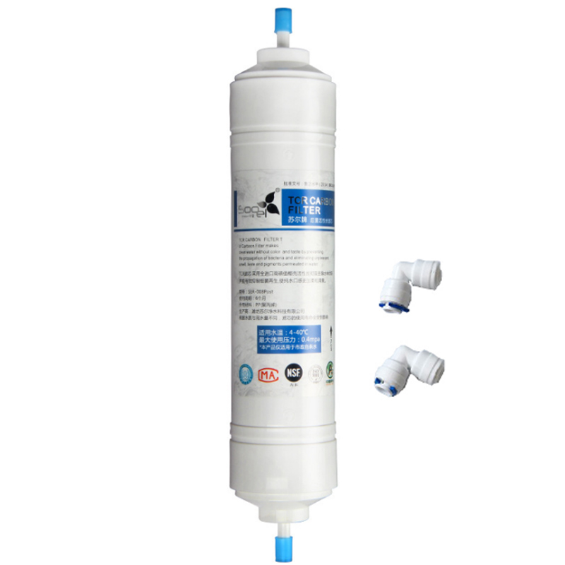 11 Inch SOOEL T33 Quick Connect  INLINE COCONUT Carbon Post WATER FILTER Cartridge With 2 fitting Water Purifier REVERSE OSMOSIS