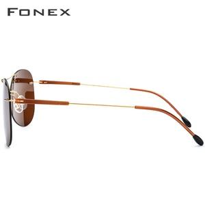 Image 3 - FONEX Titanium Alloy TR90 Rimless Sunglasses Men Ultralight Screwless Women Pilot Aviation Polarized Sun Glasses for Men 851