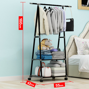 Image 4 - Simple Triangle Coat Rack Stainless Steel Mobile Removable Clothing Hanging Storage Rack Hanger Floor Stand Coat Rack With Wheel