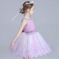 Robe Reine Des Neiges Flower Girls Dresses For Party Wedding Purple Colors Embroidery Princess Dress Costume
