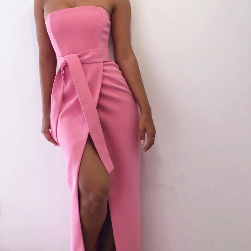 Deer Lady Bodycon Off Shoulder Dress Summer 2018 New Arrivals Womens Bodycon Maxi Dress With Split Pink Elegant Party Dress HL