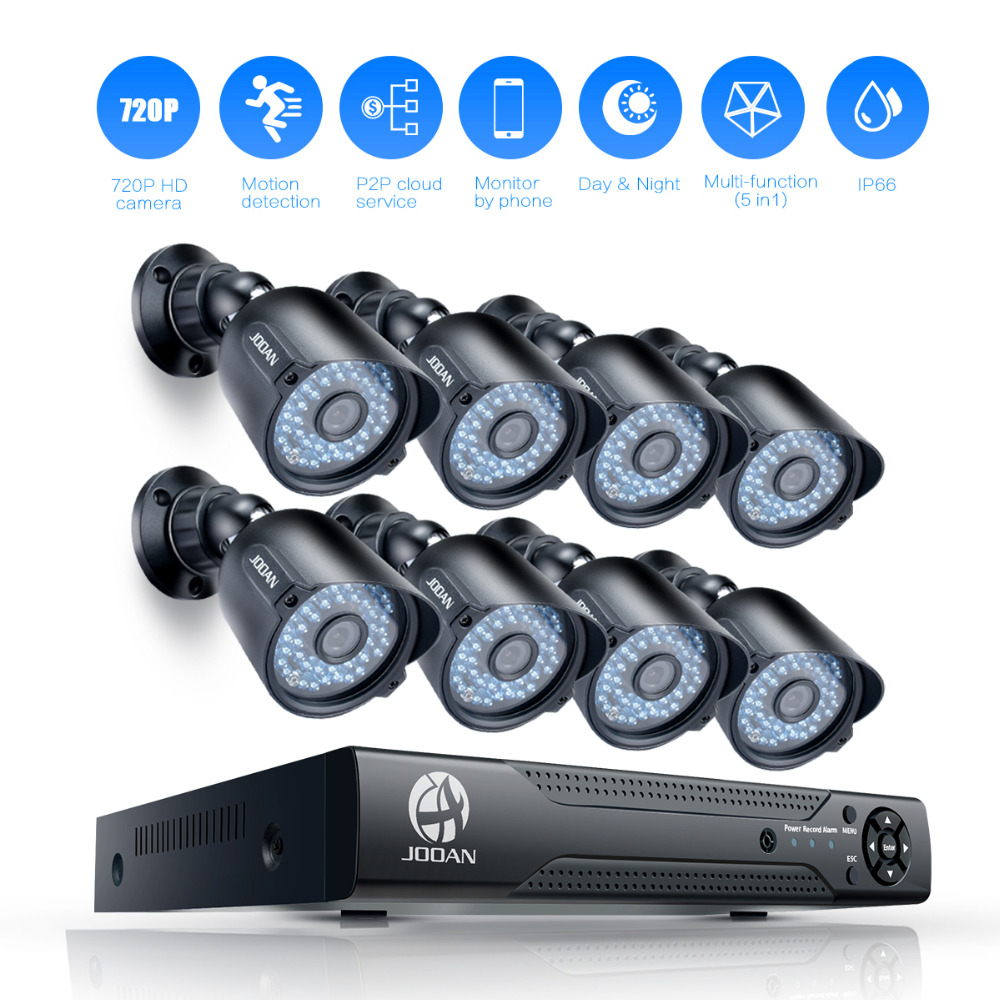 JOOAN 8CH 1080N CCTV DVR 8 x 720P (1280TVL) Outdoor Security Camera 8CH Security Camera System