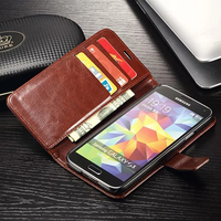 Luxury Wallet Style Leather Case For Samsung Galaxy S5 I9600 Retro Wallet Stand Function Mobile Phone
