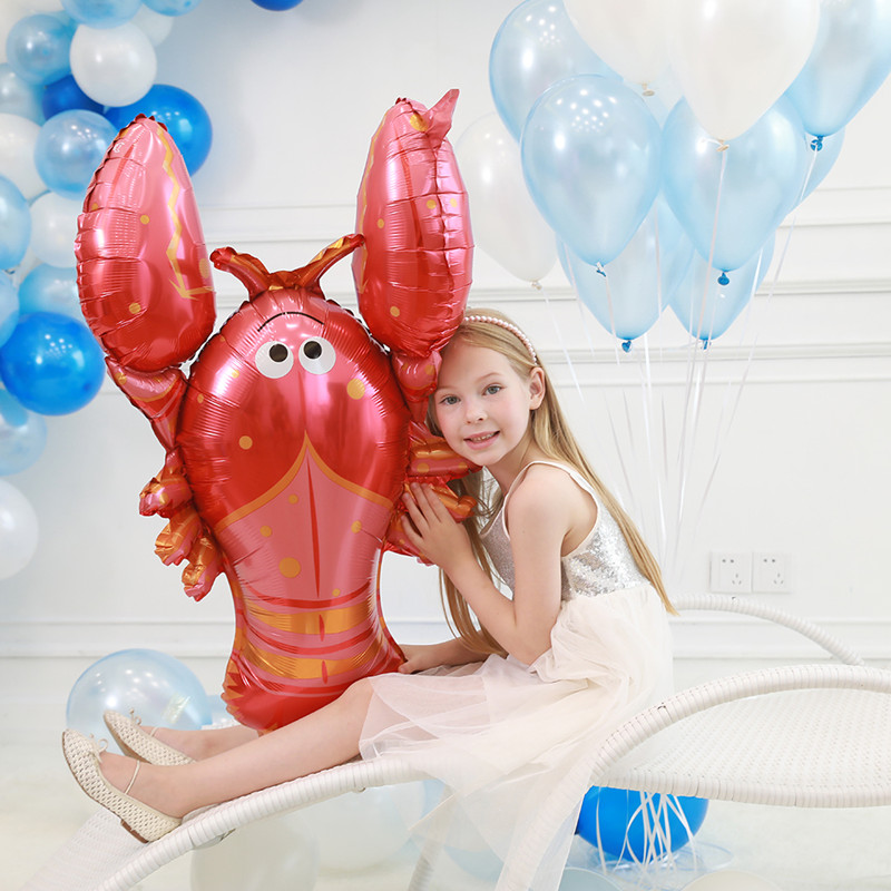 Big Size 1pcs Octopus Hippocampus Lobster Spotted Fish Shark Foil Helium Balloons Marine Life Globos Ocean Animals Theme Party