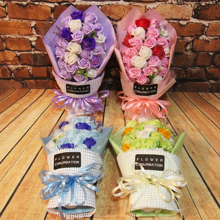 Korean Soap Flower Bouquet Zhahua Small Gifts Bouquet 33 Flower Birthday Gift For Valentine's