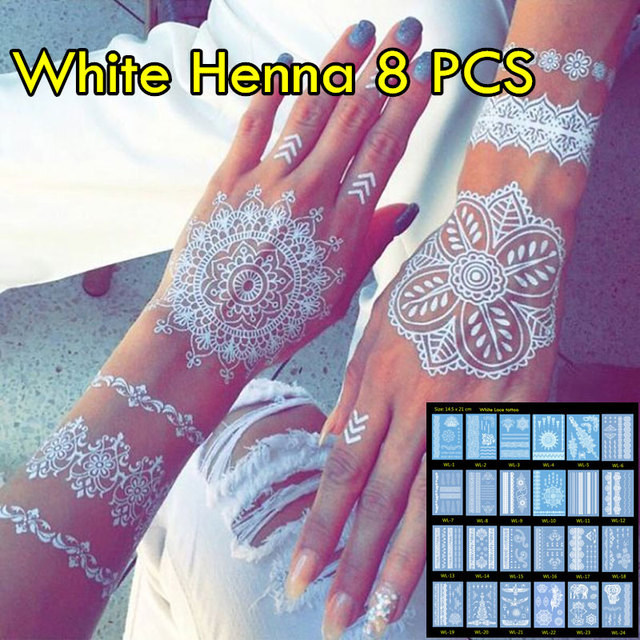 Tattoos Henna For Body: 8pcs/lot White Henna Tattoo Temporary Henna Tattoo