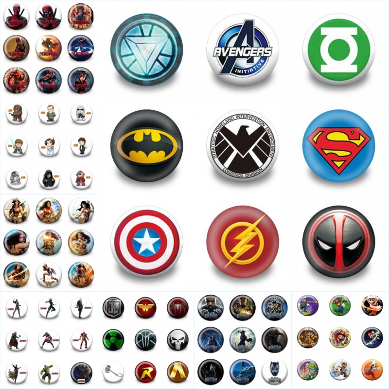 Arts,crafts & Sewing Lovely 18pcs/lot Super Heroes Mario Moana Cartoon Accessory Badges Pins On Cloth/bag Decoration Buttons Brooch Kid Gift Party Supplies