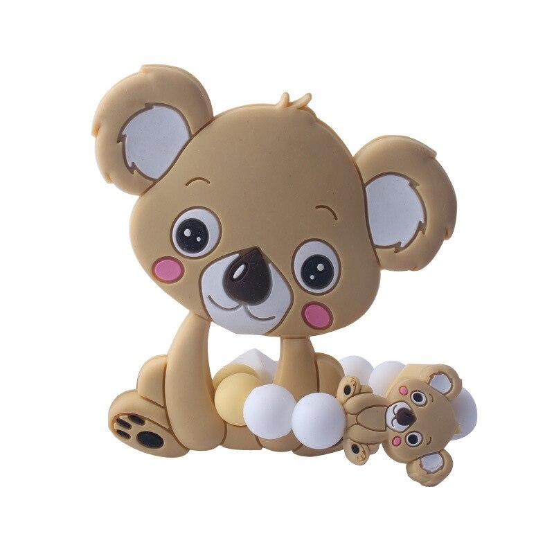 Купить с кэшбэком Food Grade Silicone Teethers Infant Baby Silicone Chew Charms Kids Teething Gifts Toddler Toy DIY Animal Koala Baby Ring Teether