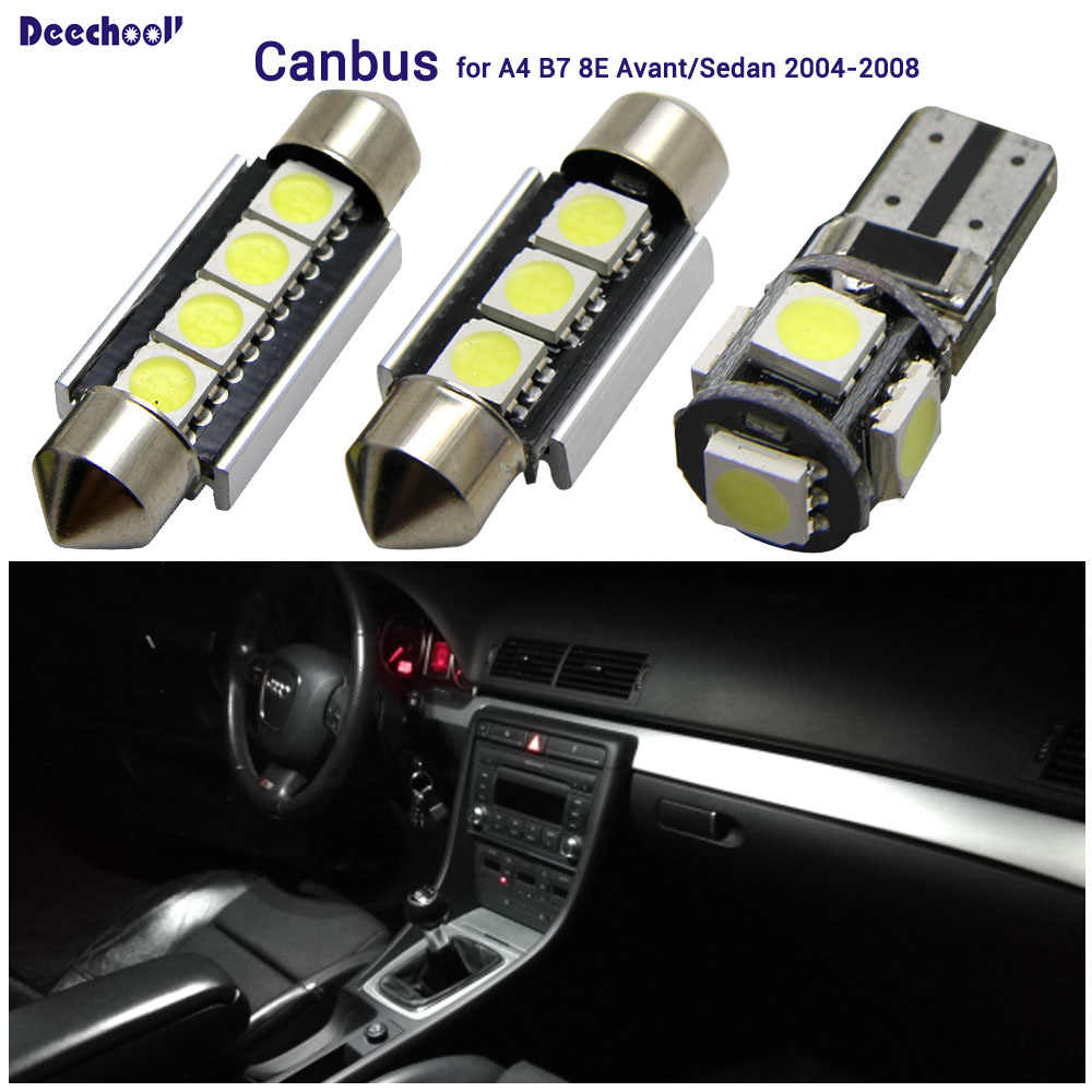 Interior matrícula domo luz de placa Canbusluces Avant sedán Audi LED para 08 de A4 8E de de 04 de Lámpara lectura B7 cuña bombillas XiuPkZ