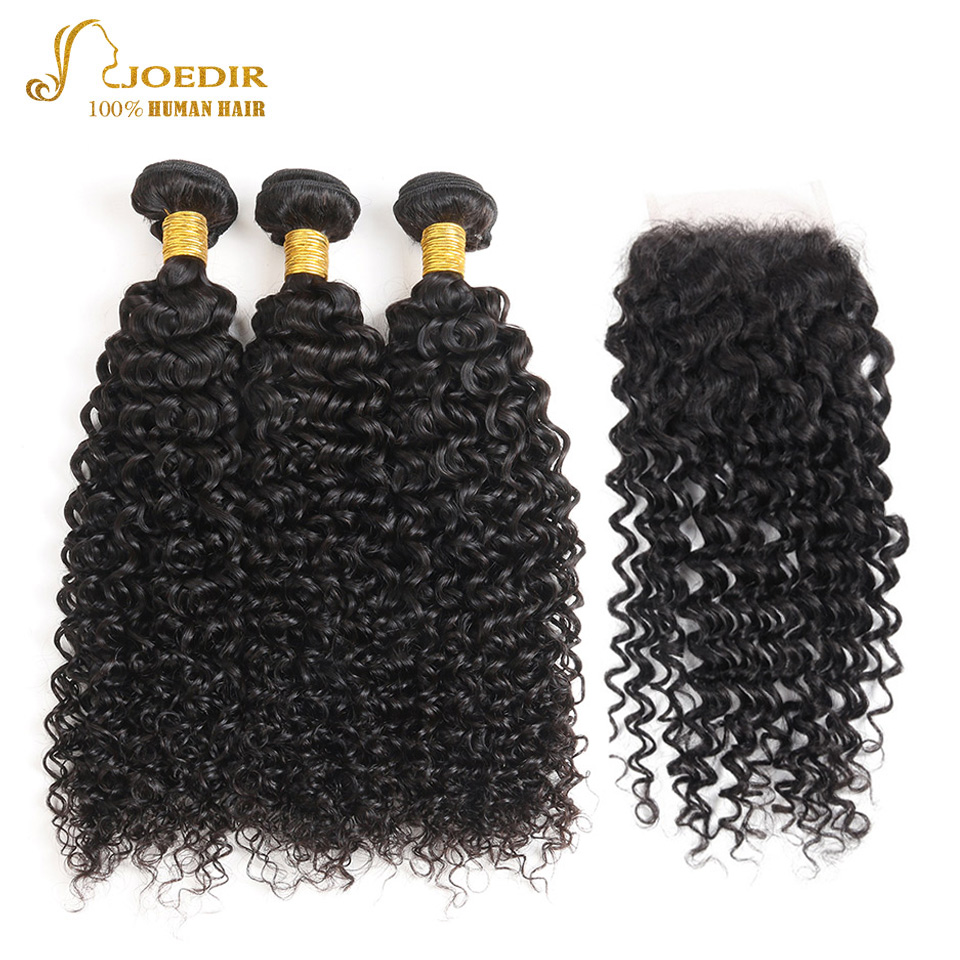 JOEDIR Pre-Colored Human Hair Bundles With Closure 4*4 Lace Closure Indian Kinky Curly hair 3 Bundles Hair Extension ...