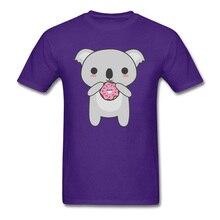 Tops Tees Men T-shirt Purple Sweatshirts Kawaii Tshirt Koala Eating A Donut Summer/Autumn Cotton Fabric Mens T Shirt Comics New