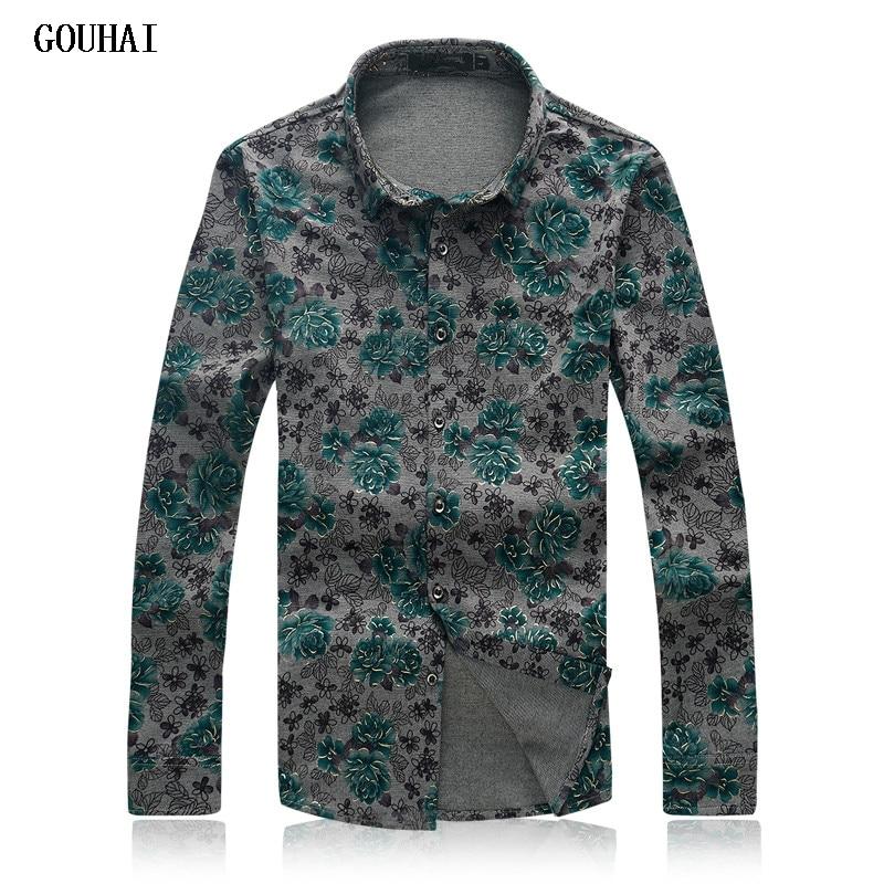 GOUHAI Luxury Long Sleeve Shirts Men 2017 Formal Dress Shirt Male M 6XL 7XL Plus Size