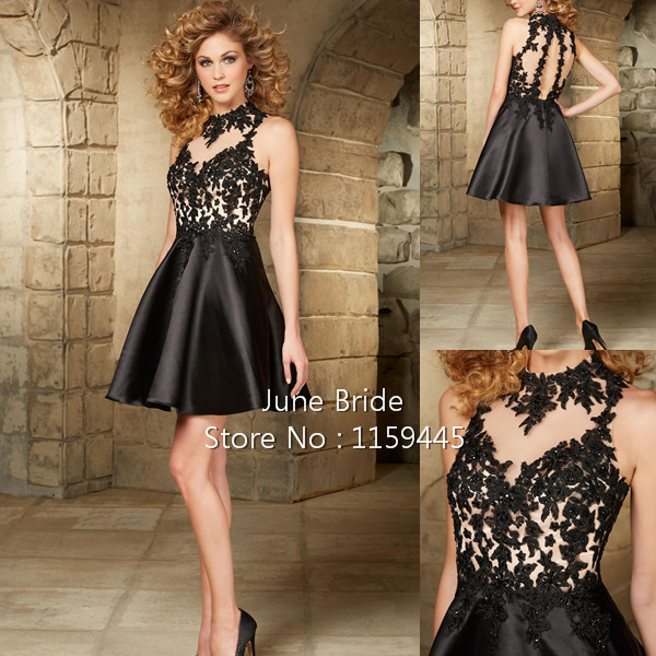 1aa4095d95e Custom Made Black Nude Homecoming Dresses High Neck See Through Lace  Applique Satin Short Keyhole Back Cocktail Party Dress Gown