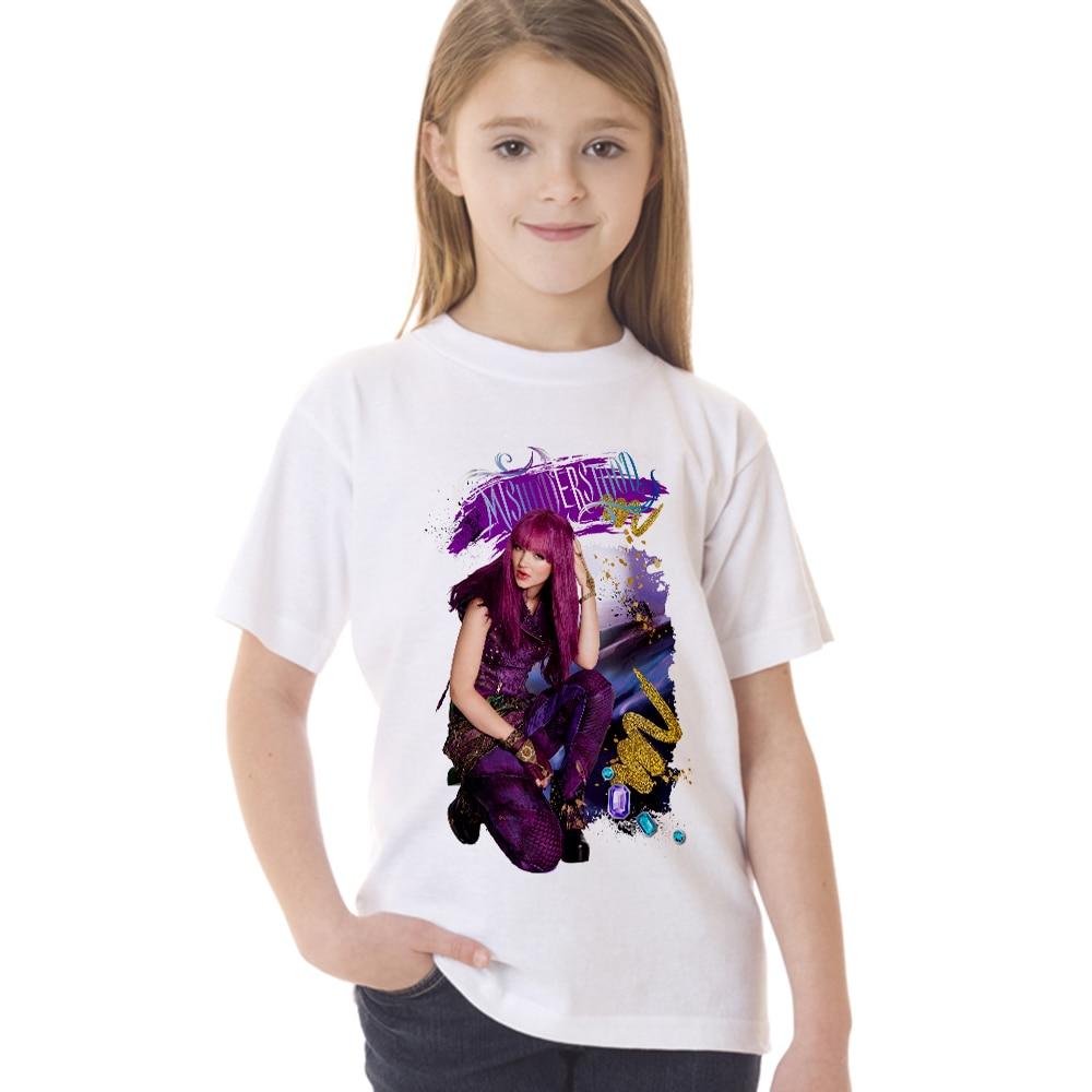 New Arrival Movie Descendants 2 Teens Girl T Shirt Fashion Cool Kids Short Sleeve T-shirt Children Summer Clothes Tops Tees 2 pcs summer kids short sleeve t shirt href