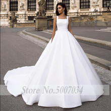 Smileven  White A Line Wedding Dress Elegant Satin Bride Dresses Big Bow Back Robe De Mariee Long Boho