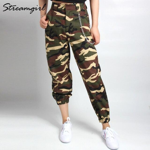 1aa3efd58d485 Sweatpants Camo Cargo Pants Women Camouflage High Waist Woman Cargo Pants  Capri Military Fashion Chain Baggy Pants Women 2018