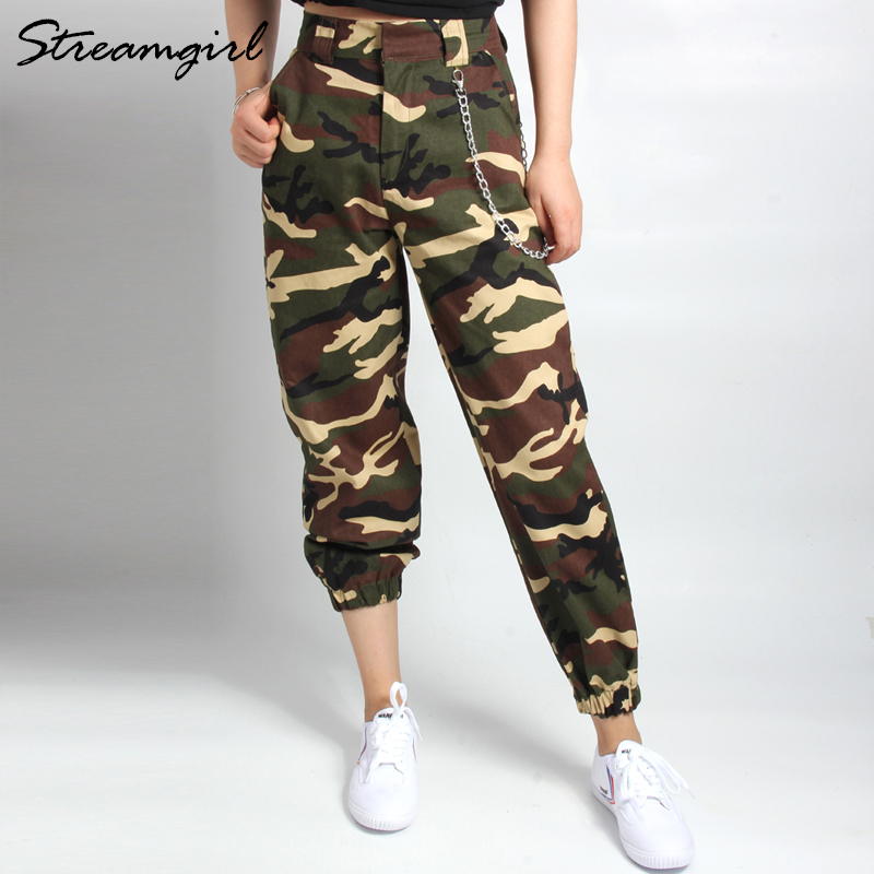 Sweatpants Camo Cargo   Pants   Women Camouflage High Waist Woman Cargo   Pants     Capri   Military Fashion Chain Baggy   Pants   Women 2018
