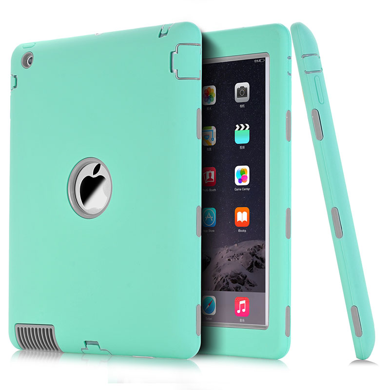 For Apple IPad 2 IPad 3 IPad 4 Case Amor Cover Heavy Duty Silicone Shockproof Protect Case For IPad2 3 4 Screen Protector Film