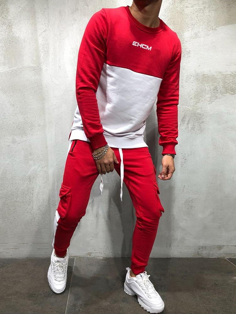 2018 New Men's Autumn Hoodies Tracksuit Set Male Sweatshirt Sweatpants Multi-pocket Fashion Trousers High Street Jackets Sets