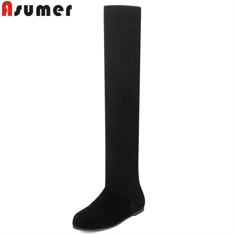 ASUMER black fashion winter boots women round toe snow boots keep warm plush flock over the knee boots flat with ladies shoes new arrival winter flat heel over the knee women boots round toe snow boots knee high warm winter female boots black brown white