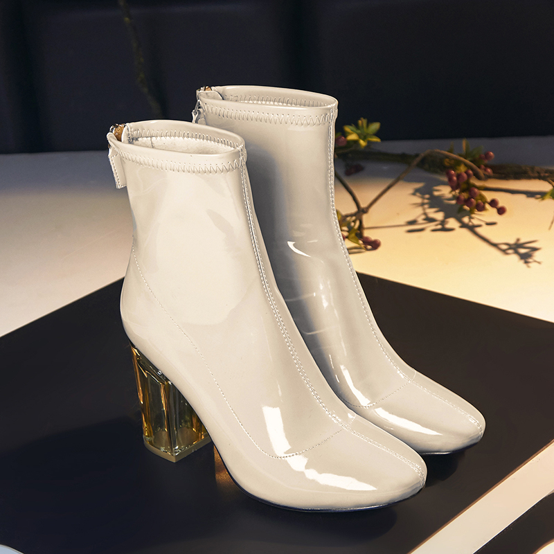 Hot 2017 Patent Leather Boots Women Sexy High Heel Apricot Boots Spring Autumn New Shoes For Ladies Fashion Ankle Booties A6129