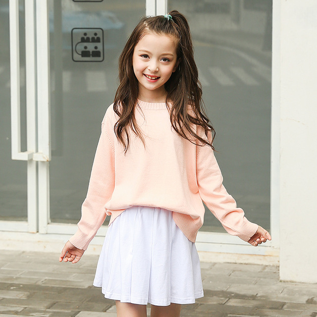 Super cotton big little girls skirts autumn spring 2018 new pleated mini  LL19