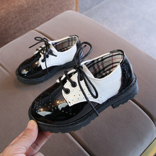 Boys Leather Shoes 2019 Springtime New Style Childrens Retro Black And White Girls Kids Wedding Party
