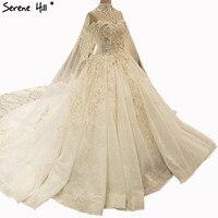 Newest Design Vintage Big Train Wedding Dresses Diamond Beading Fashion Princess High end Bride Gowns 2018 Real Photo