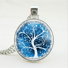 Fashion Life Tree Jewelry Family Tree Long Chain Necklace Vintage Glass Cabochon Antiqued Bronze Pendant Jewelry Finding Gift