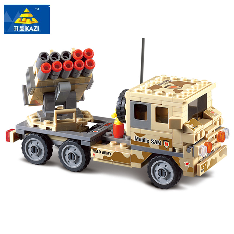 KAZI 210pcs Mobile Missile Car Building Block Sets Educational Jigsaw DIY 3D Construction Bricks Playmobil Toys for Children