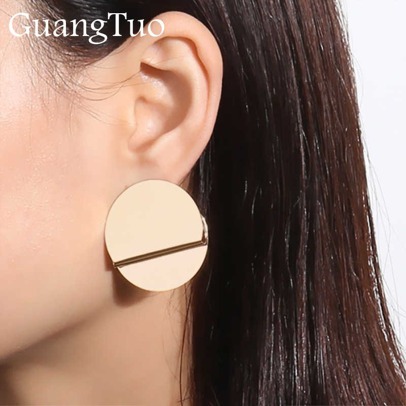 EK2138 European & American Exaggerated Glossy Irregular Metal Round Folded Stud Earrings For Women Statement Punk Ear Jewelry