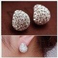 Brincos de botão folhados a prata de cristal imitação de diamante estilo tendência jóia moda 2015 E001, brincos femininos de alta qualidade