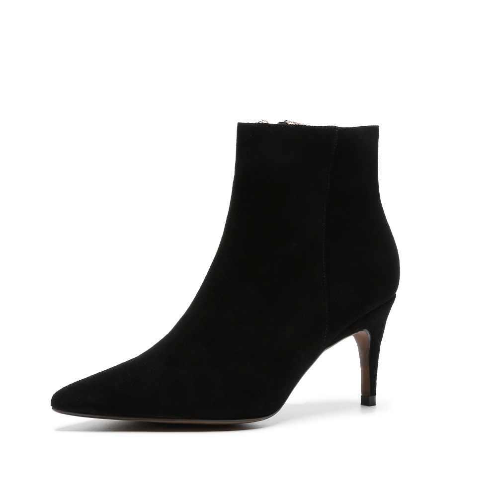 2020 yeni varış sivri burun hakiki deri ofis bayan yüksek topuklu kadın yarım çizmeler pist düğün muhtasar kış ayakkabı L00