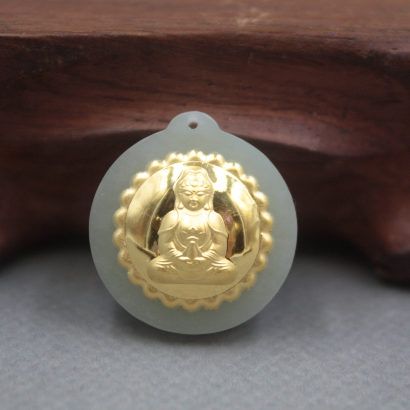 New 24K Yellow Gold Natural Jadeite Jade Women Men Kwan-Yin Round Bless Pendant 24x21mm