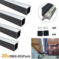 Мм 20 светодио дный 2 мм М (164ft/50 м) 24x24 мм черный u-образный ширина 20 мм алюминиевый светодиодный канал система для Светодиодные полосы света св...