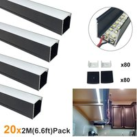 20x2M(164ft/50M) 24x24mm Black U Shape Width 20mm Aluminum LED Channel System for LED Strip Light Aluminum LED Profile U06B2M20