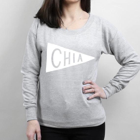 Chia Scoop Neck Womens Sweater - superfoods sweatshirt, slogan sweater, typography-E248