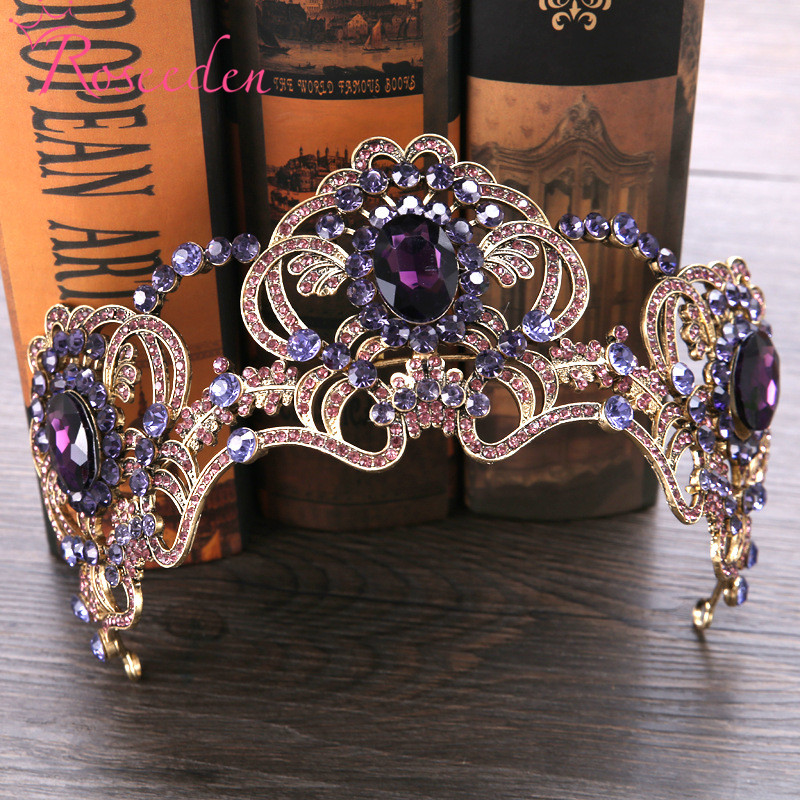 Baroque Bride Wedding Tiara Inlay Purple Crystal Queen Princess Tiaras Crown Wedding Hair Accessory Factory Price RE3019 03 red gold bride wedding hair tiaras ancient chinese empress hat bride hair piece