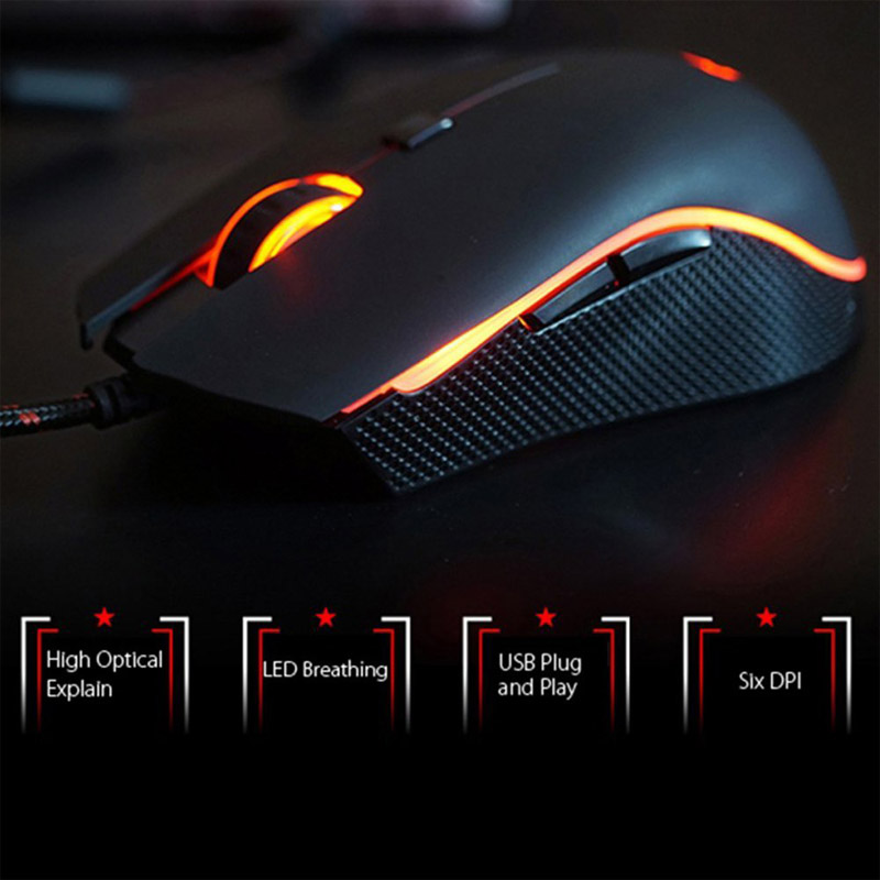 Wired Gaming Mouse With LED Backlight 6 Button 4000DPI Optical Mice for PC Laptop Computer XXM8 original logitech g102 gaming wired mouse optical wired game mouse support desktop laptop support windows 10 8 7