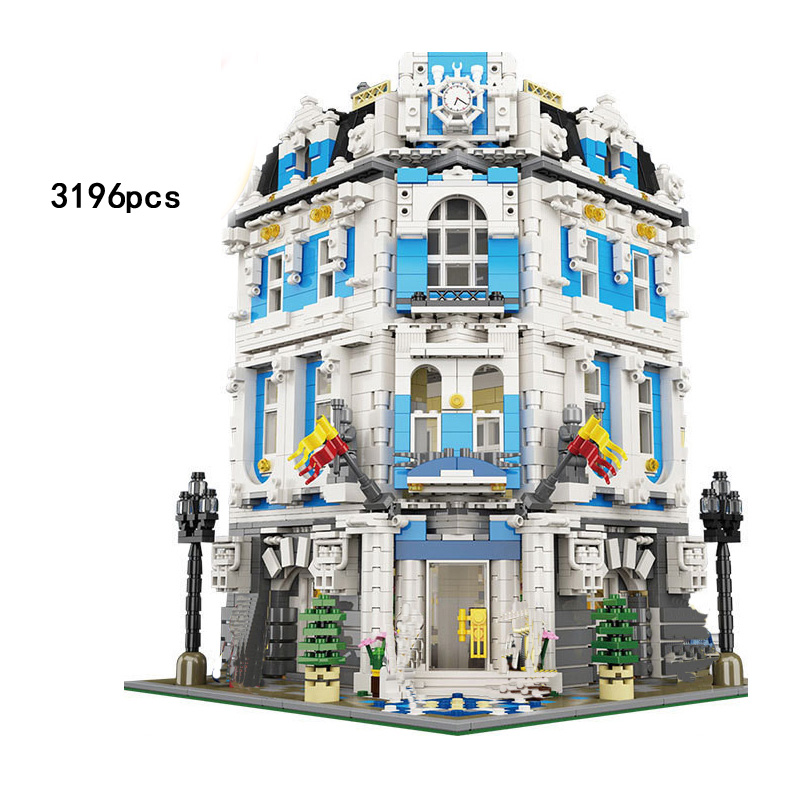 Chaude créateur ville vue sur la rue Sun Shine Hôtel MOC building block modèle Serveur cuisinier invité chiffres briques jouets collection
